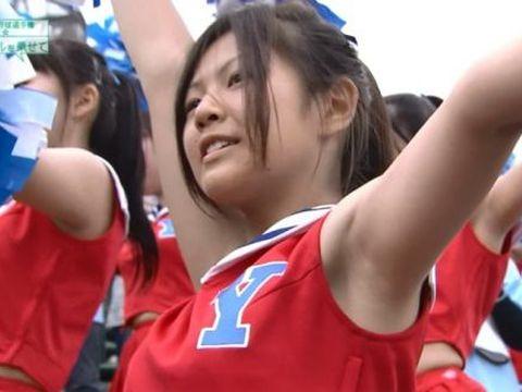 【チアガールエロ画像】夏の甲子園が待ちきれない…TVカメラマンも狙っている高校チアガールの腋フェチ画像